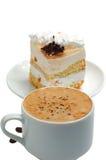 Chávena de café e um bolo Imagem de Stock Royalty Free