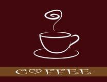 A chávena de café na obscuridade - fundo vermelho - estiletes ilustração royalty free