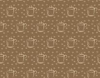 Chávena de café no fundo marrom Teste padrão sem emenda para o projeto Fotografia de Stock