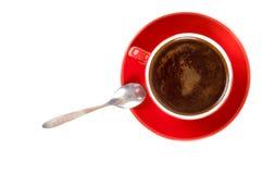 Chávena de café vermelha imagens de stock