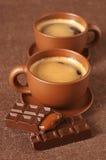 Chávenas de café e chocolate Fotografia de Stock