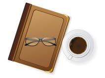 Chávenas de café e com vidros ilustração stock