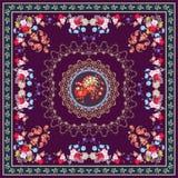 Châle de fête de nappe ou de vintage avec l'ornement magique de paon, floral et de Paisley, frontière décorative Photos libres de droits