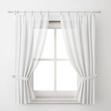 Châssis de fenêtre blanc de vintage avec le rideau d'isolement sur le fond blanc Image libre de droits