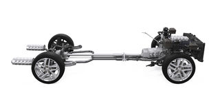 Châssis de voiture avec le moteur Images libres de droits