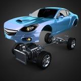 Châssis de voiture avec le moteur de sportcar brandless de luxe Photos libres de droits