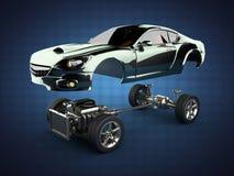 Châssis de voiture avec le moteur de sportcar brandless de luxe Photo stock