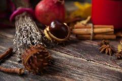 Châtaignes et feuilles en automne sur la table Photographie stock