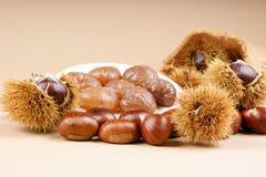 Châtaignes et marron glace Image stock