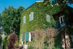 Château anglais blanc avec l'herbe verte sur le mur Image libre de droits