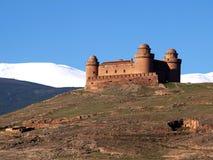 château avec la neige à l'arrière-plan Photos stock