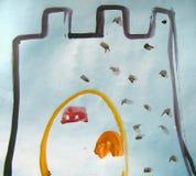 Château avec la porte d'or peinte par l'enfant image stock