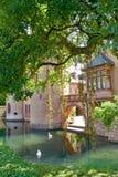 Château avec le lac de cygne, l'Europe Photographie stock libre de droits