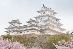 Château blanc de Himeji de château dans la floraison de Sakura de fleurs de cerisier Photos libres de droits