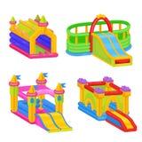 Château coloré gonflable pour l'amusement extérieur d'enfant illustration de vecteur