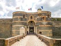 Château d'Angers. Angers, France - June 10, 2014: Château d'Angers. View of the walls of the castle and gardens around stock photos
