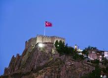 Château d'Ankara la nuit Photographie stock libre de droits