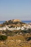 Château d'architecture de bâtiments historiques de nature d'été d'Akropolis Lindos Grèce Rhodos Image stock