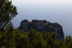 Château d'architecture de bâtiments historiques de Rhodos Grèce des ruines de Monolithos Photos libres de droits
