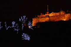 Château d'Edimbourg à Noël image libre de droits