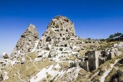 Château d'Uchisar, caverne, ville, Capadocia, Turquie Photographie stock