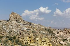 Château d'Uchisar dans Cappadocia photos libres de droits