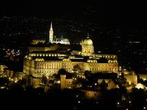 Château de Buda par nuit Photographie stock