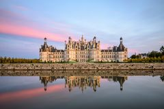 Château de Chambord. In loire valley, middle France, unesco. sunset view stock images