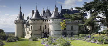 Château de Chaumont Loire Valley France. Panorama showing the renaissance Château de Chaumont on a sunny summer day surrounded by flowers in bloom stock photos