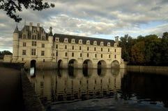 Château DE Chenonceau. Zonsondergang Stock Afbeelding