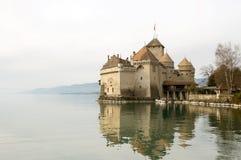 Château de Chillion sur le lac Genève Photos stock