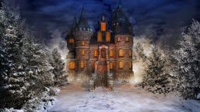 Château de conte de fées dans la forêt neigeuse illustration libre de droits