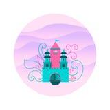 Château de conte de fées sur un fond des collines en cercle Photo stock