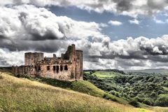 Château de Crichton sur un flanc de coteau dans Midlothian Photographie stock