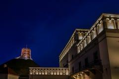 Château de Gediminas la nuit Photo stock