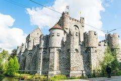 Château de Gravensteen avec des drapeaux, Ghante, Belgique Image libre de droits