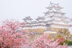 château de Himeji entouré par des fleurs de cerisier C'est un wor de l'UNESCO Images libres de droits