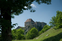 Château de Joux. This is a photo of the Château de Joux taken from the bottom of Fort Mahler. This location at the cluse du Doubs close to Pontarlier in Royalty Free Stock Image