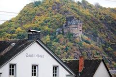 Château de Katz dans Goarhausen, vue de Sankt Goar, Allemagne images libres de droits