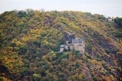 Château de Katz dans Goarhausen, vue de Sankt Goar, Allemagne photographie stock