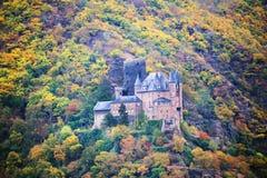 Château de Katz dans Goarhausen, vue de Sankt Goar, Allemagne image stock