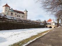 Château de la Renaissance dans le nicz de› de Nowy WiÅ dans le paysage d'hiver Image libre de droits