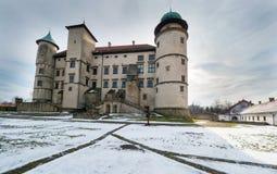Château de la Renaissance dans le nicz de› de Nowy WiÅ dans le paysage d'hiver Photos libres de droits