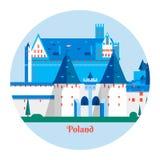 Château de Malbork en Pologne Icône de point de repère de la Pologne de voyage Illustration de vecteur Photos stock