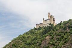 Château de Marksburg chez Braubach en vallée du Rhin, Allemagne - site de patrimoine mondial de l'UNESCO Photos stock