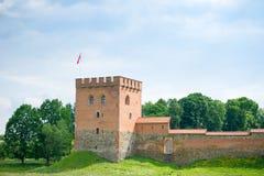 Château de Medininkai, un château médiéval dans le secteur de Vilnius, Lithuanie Image stock