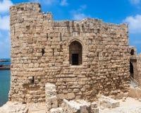Château de mer de croisé de Sidon au Liban Photo stock