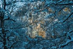 Château de Neuschwanstein le début de la matinée en hiver par des arbres Photographie stock