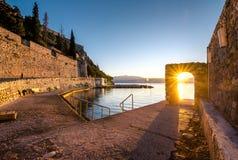 Château de Palamidi sur la colline au-dessus de la ville de Nafplio en Grèce Photos libres de droits