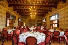 Château de Pavone Canavese, le 28 mai 2016 Tableau mis pour une pièce d'événement Images stock